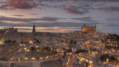 Full HD Wallpapers toledo aerial view evening spain Desktop