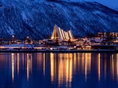 Wallpapers Tromso Norway winter city sea mountain night lights