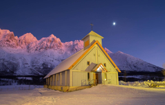 Wallpapers winter night Norway Church Norway Troms County