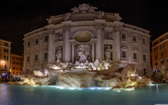 Trevi Fountain at night Rome Italy 4K HD Desktop Wallpapers for