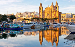 Wallpapers reflection boats Cathedral boats harbour Malta Malta