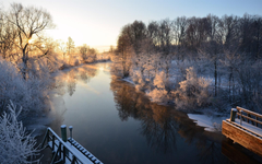 Winter river boats snow houses Uppsala Sweden wallpapers