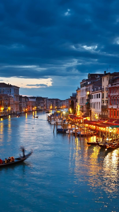 HD Backgrounds Venice Italy Night View Gondola Rides River Buildings