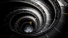 black spiral stairways grayscale Dark Sector vatican city
