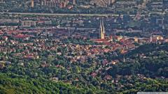Panorama of Zagreb Gornji grad i Novi Zagreb 4K HD Desktop