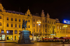 Wallpapers City of Zagreb Croatia Monuments Evening Street lights