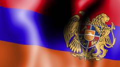 Group of Waving Armenian Flag
