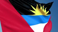 Antigua and Barbuda flag waving 3d render seamless loop Hi Res