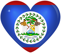 Belize Large Heart Flag
