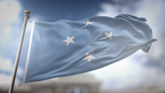 Federated States of Micronesia Flag Waving Slow Motion 3D Rendering