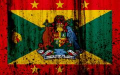 wallpapers Grenada flag 4k grunge North America flag of