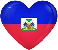 Haiti Large Heart Flag