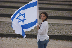 women s white long sleeve shirt and blue denim jeans and israel