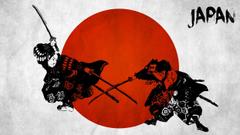 Samurai Japan weapons swords flags red battle fantasy warriors