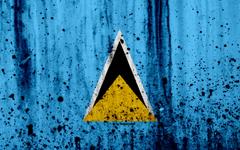 wallpapers Saint Lucia flag 4k grunge North America