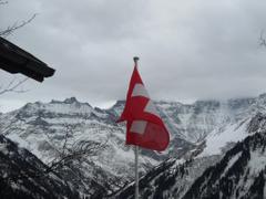 Mountain Swiss Flag Mountains Blue White Rock Austria Sky Skiing