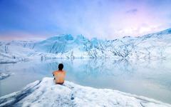 Contemplationg Mouth of the Matanuska Glacier Alaska widescreen