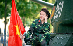 Wallpapers flag tank Asian military uniform Vietnam girl
