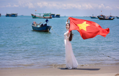 Wallpapers sea summer girl face boats dress flag Vietnam