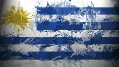 Flag of Uruguay with paint drops wallpapers