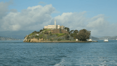 Escape from Alcatraz boat leaving in San Francisco Stock Video