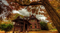 Houses Mark Twain House Hartford Connecticut Autumn Museum Trees