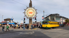 San Francisco trolley rides through Fisherman s wharf Stock Video