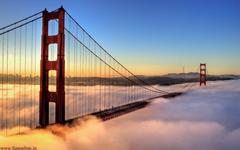 Foggy Sunrise at Golden Gate Bridge Wallpapers