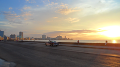 Sunsets Havana Orange Blue Sunset Malecon Sea Cuba Reflections