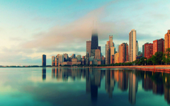 Chicago Illinois city skyscrapers water fog Wallpapers