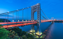 George Washington Bridge On The Hudson River During Blue Hour New