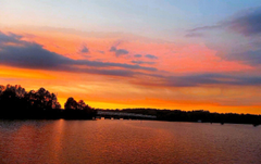Lakes Sunset Crossing Lake Waterscape Bridge Pink Caddo Louisiana