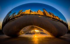 Chicago Millennium Park Reflection Buildings Skyscrapers Sunset