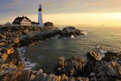 Sea Ocean Light Usa Lighthouses Portland Cape Elizabeth Coast Head
