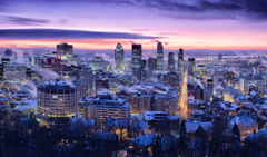 Canada Houses Winter Sky Megapolis Night Montreal Quebec Cities