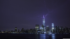 Lightning strikes One World Trade Center 4K HD Desktop Wallpapers