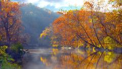Ohio autumn lakes mountains reflections wallpapers