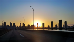 Driving into Panama city at sunset wallpapers