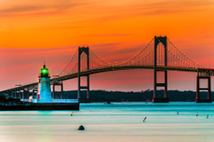 Sunset over Lighthouse and Bridge in Newport Rhode Island Full HD