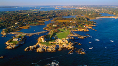 Aerial view of Ocean Drive in Newport Rhode Island wallpapers by