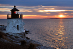 Castle Hill Lighthouse and East passage of Narragansett Bay in