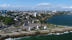 Aerial Pan Around of Boardwalk in Santo Domingo Dominican Republic