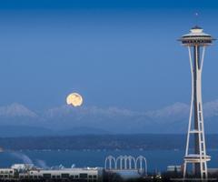 Full Moon And Seattle Space Needle Wallpapers For HTC Desire