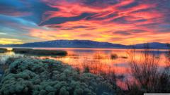 Fiery Sunset Over Utah Lake 4K HD Desktop Wallpapers for 4K Ultra