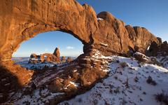 landscape Rock Formation Arch Snow Utah Wallpapers HD Desktop