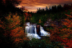 Autumn Waterfall at Blackwater Falls State Park West Virginia by