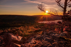 Trees sunset Wisconsin United States Devils Lake wallpapers