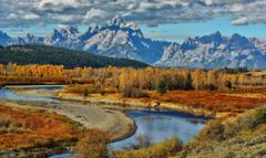 Rivers National Wyoming Grand River Park Usa Mountains Autumn Teton