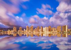 Image Hawaii USA Waikiki Honolulu Sea Sky Cities Clouds Houses