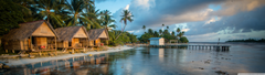Bungalows On The Reef French Polynesia 4K HD Desktop Wallpapers